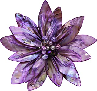 AeraVida Pretty Water Lily Fuchsia Mother of Pearl and Cultured Freshwater Purple Pearl Pin or Brooch