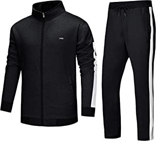Men's Tracksuit 2 Piece Set Outfit Jogging Sweatsuits Sport Suits Black
