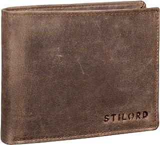 STILORD 'Lennox' Cartera Cuero RFID NFC Protección para Hombres y con Botón Pulsador Billetera Mondero Piel, Color:taragon...