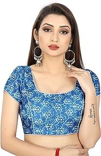 Ocean Fashion Women's Satin Silk Printed Blue Round Neck Saree Blouses (Color; Blue)