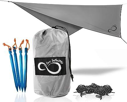Live Infinitely 75D Ripstop Lightweight Hammock Rain Fly Extra Long 14'4 (172) Ridgeline - 2000mm Waterproof Premium Camping,  Backpacking & Hammock tarp with Guy Lines & Stakes