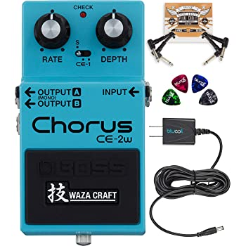 BOSS CE-2W Waza Craft Chorus Effects Pedal Bundle with Blucoil Slim 9V Power Supply AC Adapter, 2-Pack of Pedal Patch Cables, and 4-Pack of Celluloid Guitar Picks