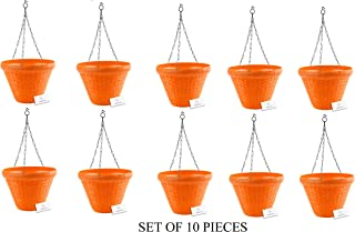 Unique Plastic Hanging Pot with Metal Chain (Orange, Pack of 10)