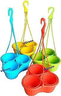 VGreen Garden Store Plastic Hanging Planter (Multicolour, 3.5-inch) - Set of 3