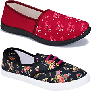 Shoefly Women Multicolour Latest Collection Sneakers Shoes-Pack of 2 (Combo-(2)-611-1450)