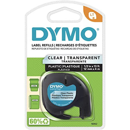 DYMO - DYM16952 Authentic LetraTag Labeling Tape for LetraTag Label Makers, Black Print on Clear pastic Tape, 1/2'' W x 13' L, 1 roll (16952)