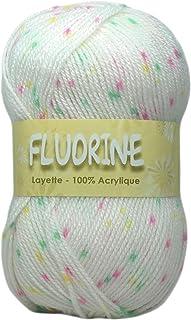 Distrifil Fluorine 1330.2.1 – Pelote Mouchetée 100% Acrylique pour Layette – 2 Pelotes – Blanc
