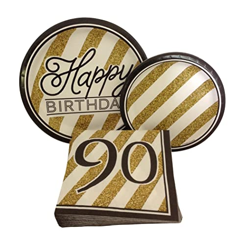 Black And Gold Happy 90th Birthday Party Bundle With Paper Plates Napkins For 8 Guests