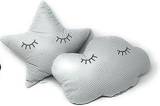 2 Cojines Bebe Decorativos Nube y Estrella Durmiendo Ideal