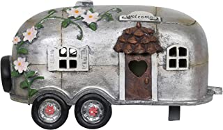 Exhart Fairy Camping Trailer Statue w/Solar Accent Lights - Mini Silver Camper Trailer Resin Statue – Ideal Garden Décor for Camping Fairy Park, Campground, Trailer Park and More 5