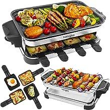 AppareilàRaclette Barbecue Electrique 2-EN-1 Raclette grill avec Plaque en Fonte Raclette 8 Personnes, BBQ Electrique de...