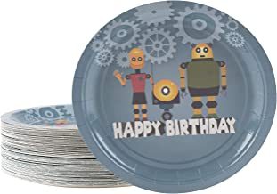 Disposable Plates - 80-Count Paper Plates, Boys Birthday Robot Themed Party Supplies for Appetizer, Lunch, Dinner, and Dessert, Cartoon Space Robot Design, 9 x 9 Inches