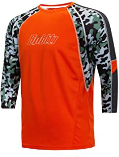 bpbtti Men's BMX Mountain Bike Shirts 3/4 & Long Sleeve Loose Fit MTB Cycling Jersey-Moisture-Wicking and Breathable
