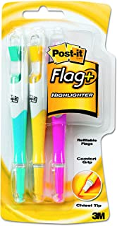 Post-it 70071178217 Flag+ Highlighter, Yellow, Pink, and Blue, 50-Color Coordinated Flags/Highlighter, 3-Pack