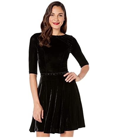 Unique Vintage Velvet 1/2 Sleeve Fit-and-Flare Dress (Black) Women