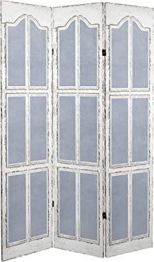 Red Lantern 6 ft. Tall Double Sided Blue and White Shutters Canvas Room Divider,
