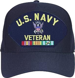 U.S. Navy Veteran with Logo and Vietnam Ribbons Baseball Cap. Navy Blue. Made in USA