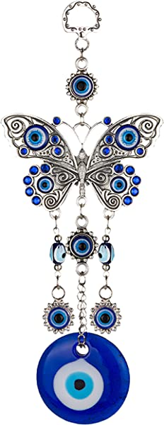 ME9UE Blue Evil Eye Butterfly 7 65 Inches Pendant Decoration Lucky Butterfly Key Ring Hanging Ornament Amulet For Car Home And Office For Protection And Blessing