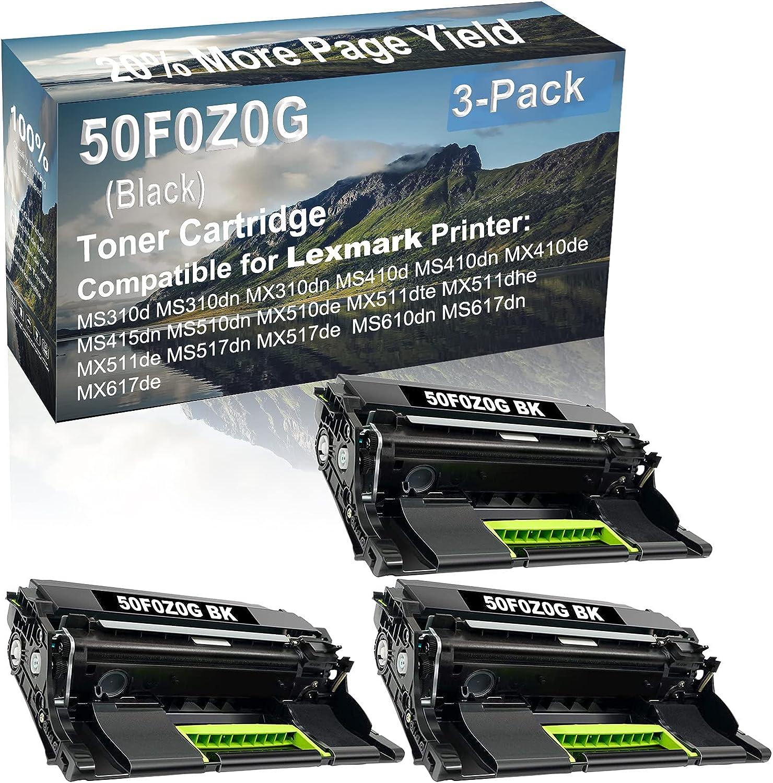 3-Pack (Black) Compatible MS415dn MS510dn MX510de MX511dte MX511dhe MX511de Printer Drum Unit Replacement for Lexmark 50F0Z0G Drum Kit