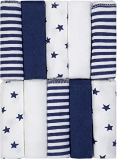 Just Born Boys and Girls Newborn Infant Baby Toddler Soft Bath Baby Washcloth Multi Pack, Navy white, 10 pack, 0.29 pounds
