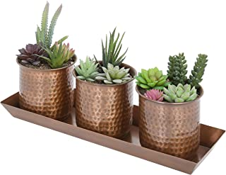 MyGift Hammered Antique Copper-Tone Metal Succulent Planter Cups with Tray, Set of 3