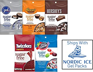 Sugar Free Bundle of Assorted Hershey's Chocolate, Reese's Peanut Butter Cups, York Peppermint Patties, Twizzlers Strawberry Licorice and Jolly Rancher Hard Candy