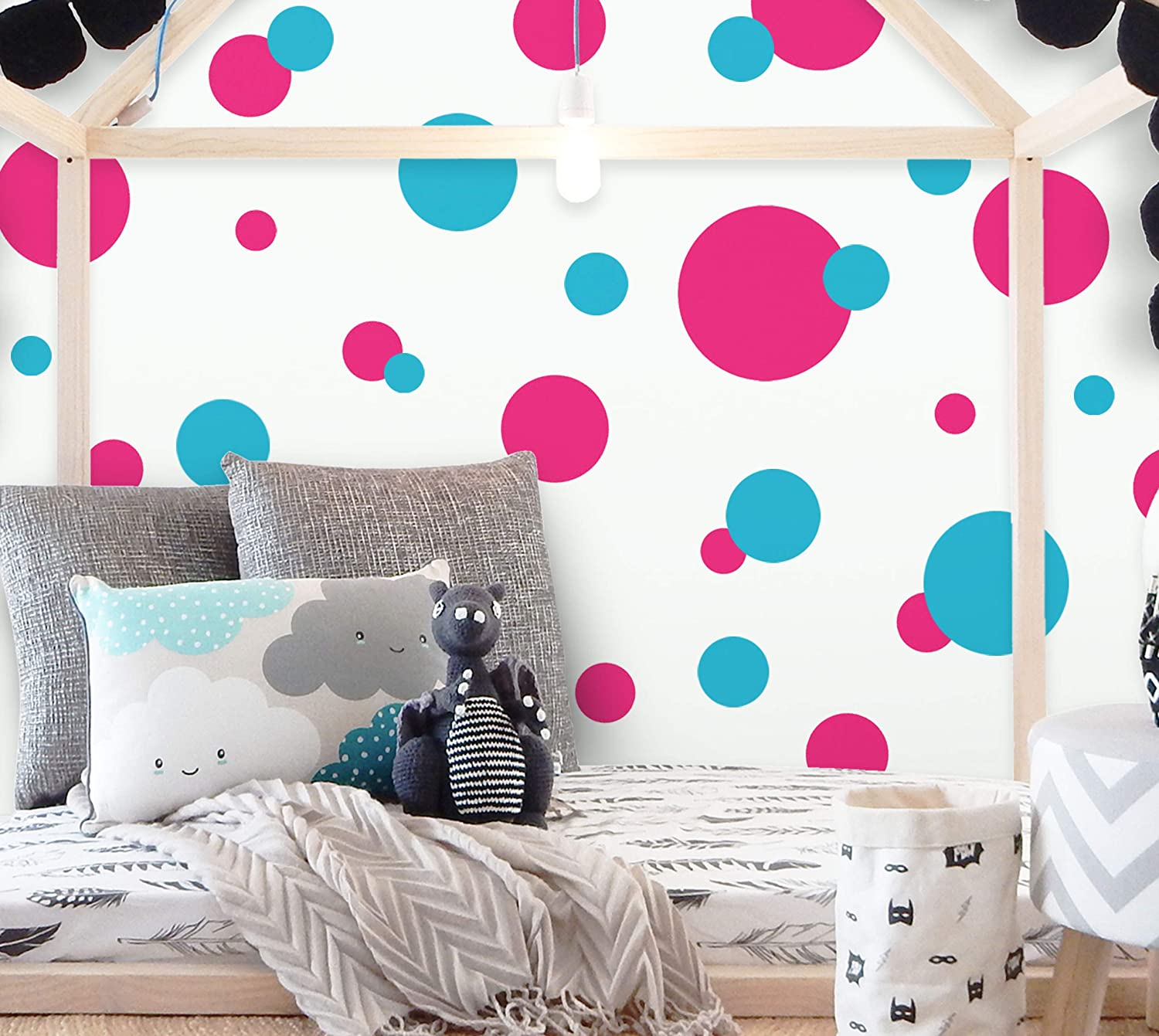 Amazon Com Polka Dot Decals For Girls Room Walls Hot Pink Teal Home Kitchen