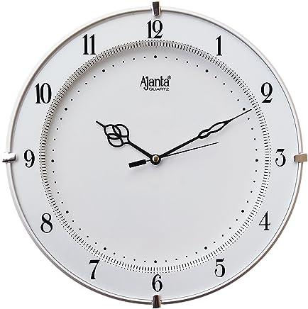 Ajanta Plastic Wall Clock (28 cm x 28 cm x 3.5 cm, White)