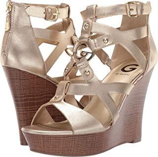 G By Guess Womens Dodge Embellished Faux Leather Wedge Sandals