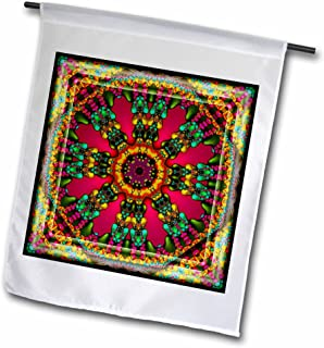 3dRose fl_24845_1 Mandala 11 Purple Glowing Energy Power Meditation India Orient Peace Harmony Chakra New Age Garden Flag,...