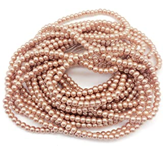 PEPPERLONELY Brand 5 Strands (About 1080 PC 100Grams) Burly Wood Glass Pearl Round Beads, 4mm(3/16 Inch)