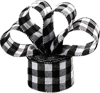 6.3 cm in Width Plaid Burlap Ribbon Gingham Wrapping Ribbon with Spool for Christmas Decoration Gift Wrapping Party Decoration (Black and White, 10 Meter Long)