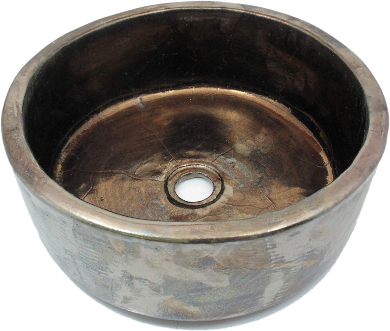 Urszula - Braunes Waschbecken - Cerames     Waschschale 38 x 14 cm     Rundes Aufstzwaschbecken für Badezimmer Toiletten Gste WC