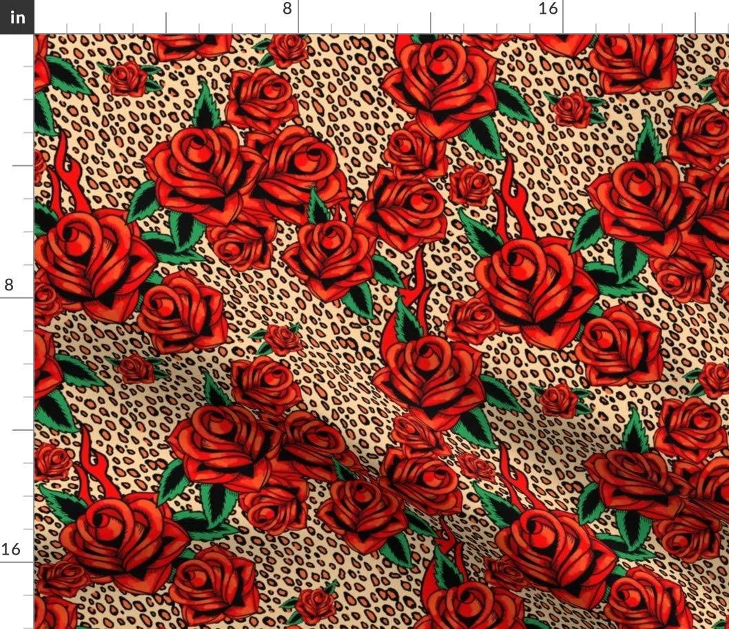 Spoonflower Fabric - Red Fresno Mall Tattoo Traditional Seattle Mall Leopard Roses