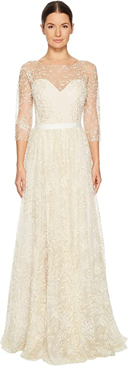 Marchesa Notte - 3/4 Length Sleeve Glitter Tulle Gown with Ribbon at Waist