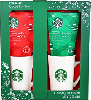 Thoughtfully Gifts, Starbucks Cocoa for 2, Includes 2 Starbucks Mugs and 2 Cocoa Packets