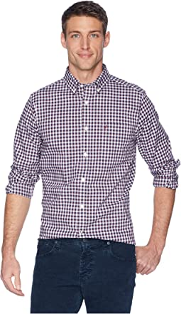 Long Sleeve Wear to Work Medium Plaid Woven Shirt