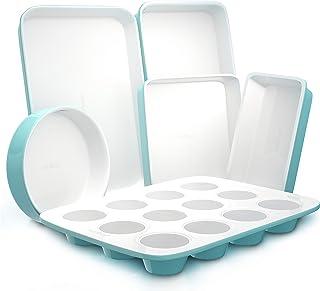 Nutrichef 6-Pcs Kitchen Oven Baking Pans Non-Stick Sheets Set, Attractive Green Pans & White Inside, Quality Kitchenware f...