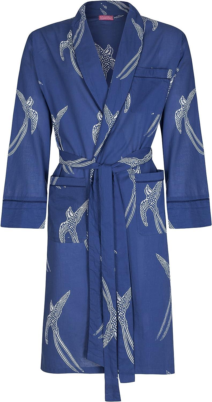 Men's Cotton Robe Dressing Gown - Blue Light Cotton Robe - 100% Cotton Bathrobe - Men's Bathrobe Yukata
