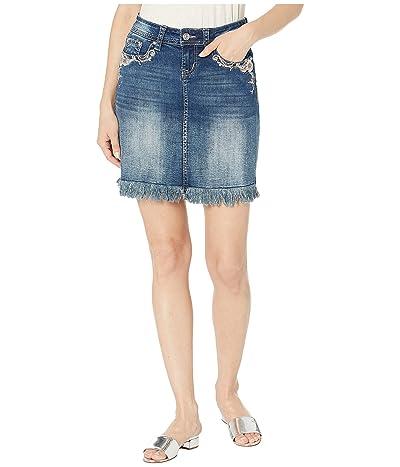Grace in LA Mid-Rise Flower Embellished Skirt (Medium Blue) Women