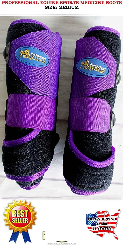 Horse Medium Professional Equine Splint Sports Medicine Boots Purple Black 4114A