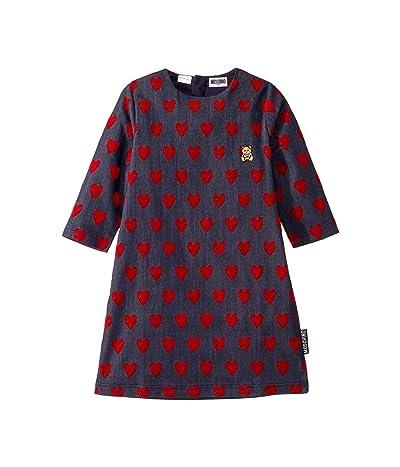 Moschino Kids Denim Dress w/ All Over Hearts Print (Big Kids) (Blue) Girl