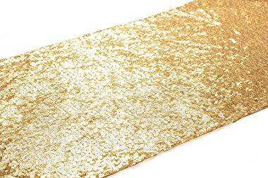 Poise3EHome Sequin Table Runner Golden 13x108 inches Wedding Party Glitter Table Linen for Baby Shower, Birthday, Event Table