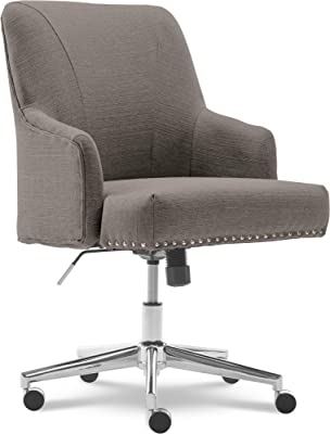 Amazon Com Serta Leighton Home Office Memory Foam Height Adjustable Desk Accent Chair With Chrome Finished Stainless Steel Base Twill Fabric Soft Medium Gray Furniture Decor