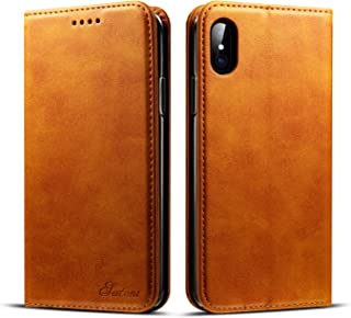 iPhone X Case Wallet,TACOO Leather Slim Fit Durable Fold Card Money Holder Magnet Adsorption Protective Men Women Girl Khaki Shell Cover for Apple iPhone 10 2017