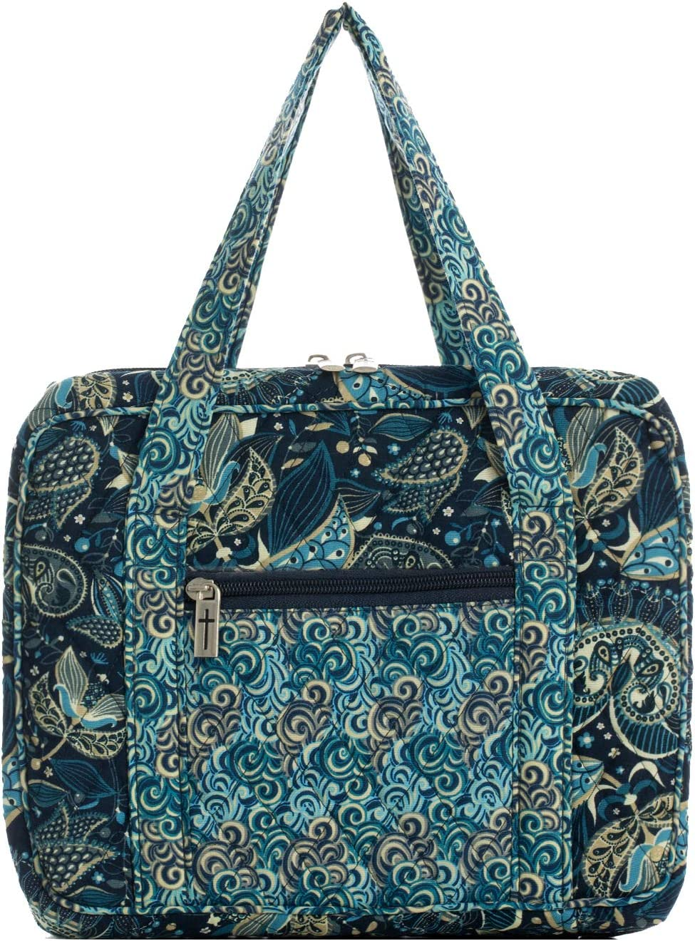 DIWI 10 X 7 X 2.75 Inches Large Sizes Bible Cover Bible Tote Bible Purse Quilted Cotton Pen Holder Inside Fit for Large Print NLT Life Application Study Bible L, 207A Purple Paisley