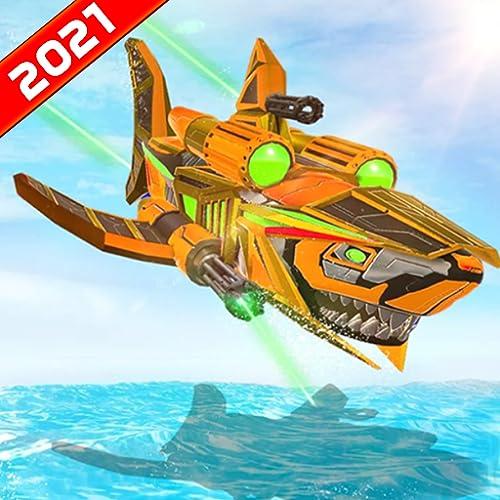 Furious Wild Shark Transform Robot U-Boot-Angriffssimulator: Ultimative Shark Robot Shooting Games 2021