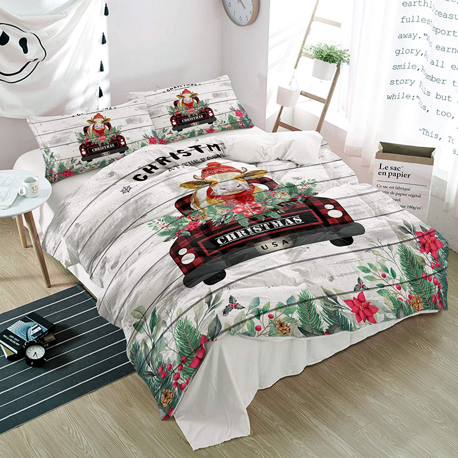 3PiecesBeddingDuvetCoverSet Christmas Checked C Max 84% OFF security Truck with