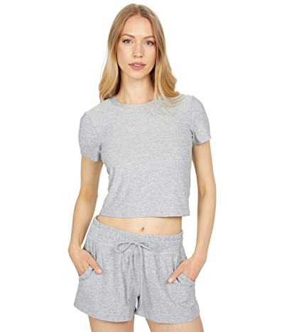 Beyond Yoga Featherweight Space Dye Ruched Down Cropped Tee