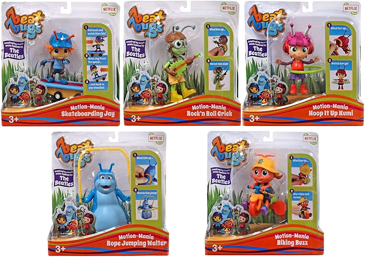 Beat Bugs  MotionMania Biking Buzz, Rope Jumping Walter, Scateboarding Jay, Rock'n Roll Crick and Hoop It Up Kumi  Set of 5 Characters